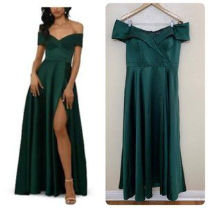 Xscape Satin Gown 2026X Off Shoulder Emerald Green